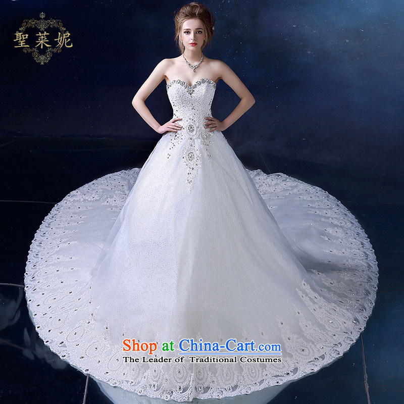 The Holy her wedding dress 2015 new summer continental palace water drilling and chest women white long tail wedding dress White聽XL