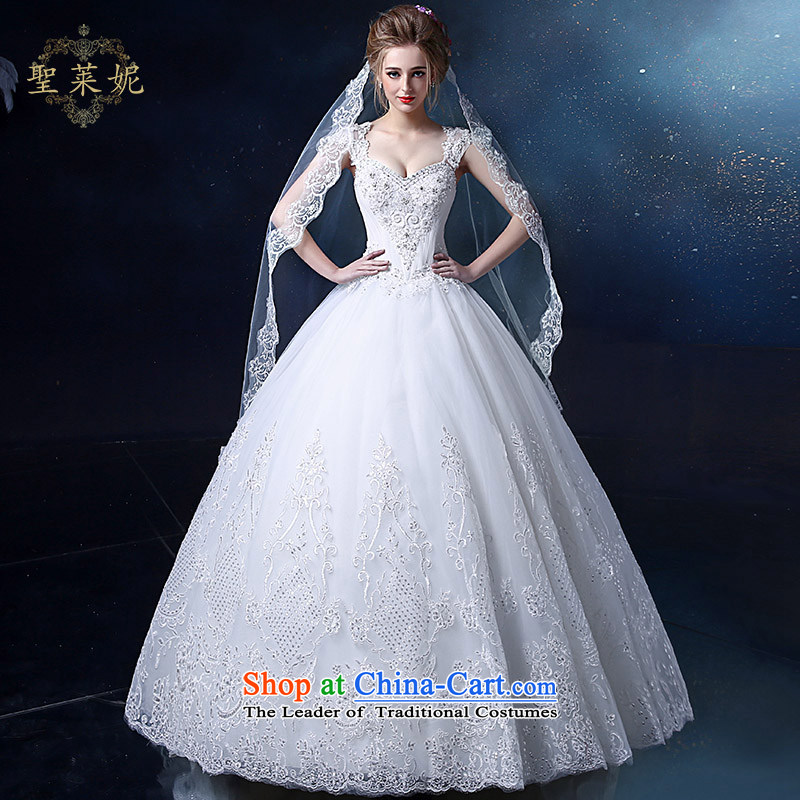 The Holy her wedding dress 2015 new 2 to align the shoulder drill water white continental Princess Ms. skirt larger marriage wedding dresses White?M