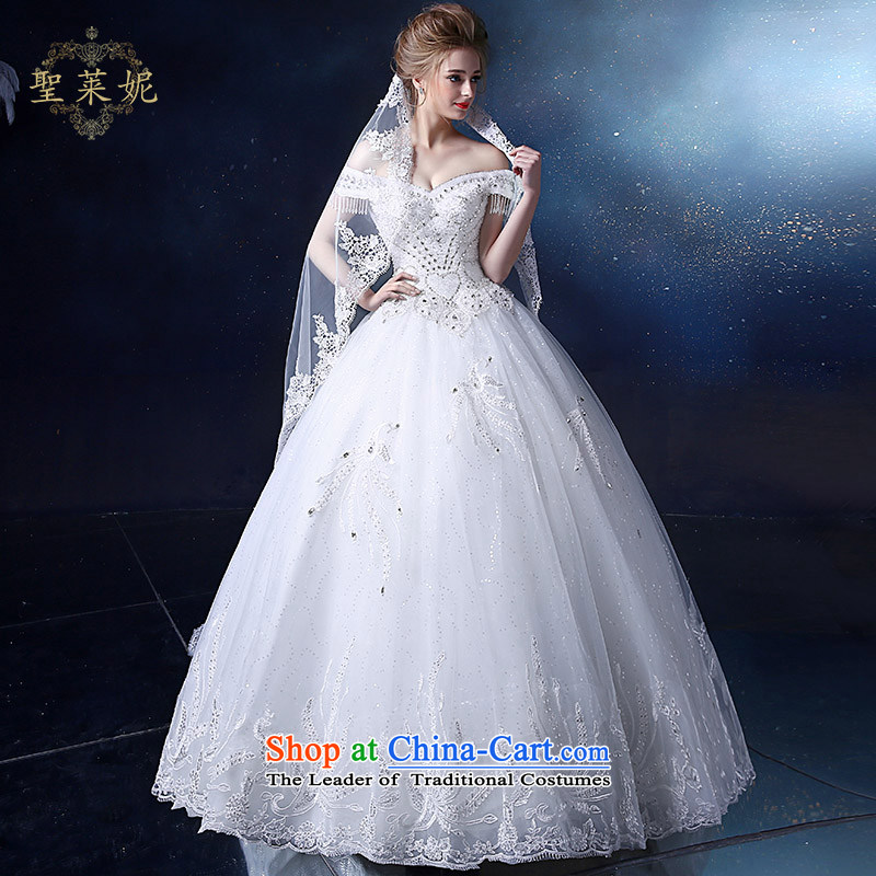 The Holy her wedding dress 2015 new large white water to drill one field in your shoulders, married to Korean sweet wedding dresses white�L