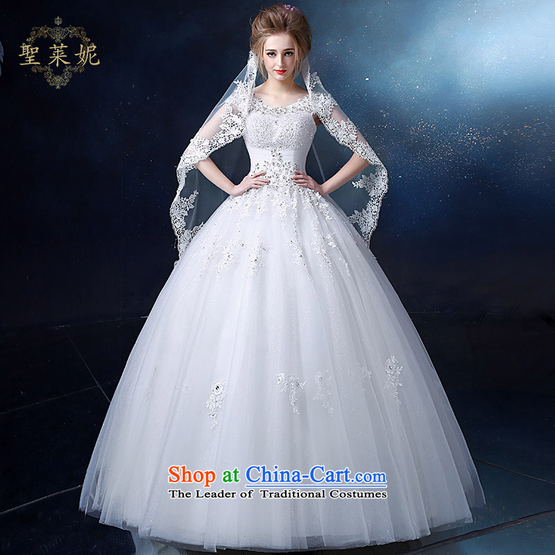 The Holy her wedding dress 2015 New 2 shoulder bags shoulder wedding lace round-neck collar align to bind with a large number of female Korean custom white?L dress