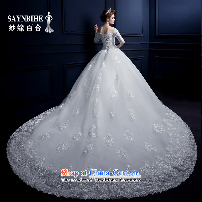 The leading edge of the Formosa lily wedding dresses 2015 new autumn and winter field shoulder tail wedding Korean lace straps wedding fashion bride anointed chest to wedding video thin trailing white M