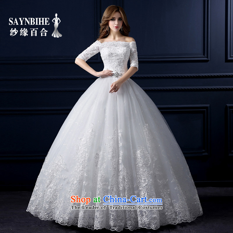 The leading edge of the Formosa lily wedding dresses new 2015 autumn and winter field to align the shoulder wedding Korean lace straps in cuff wedding Sau San sweet princess bon bon skirt wedding white S