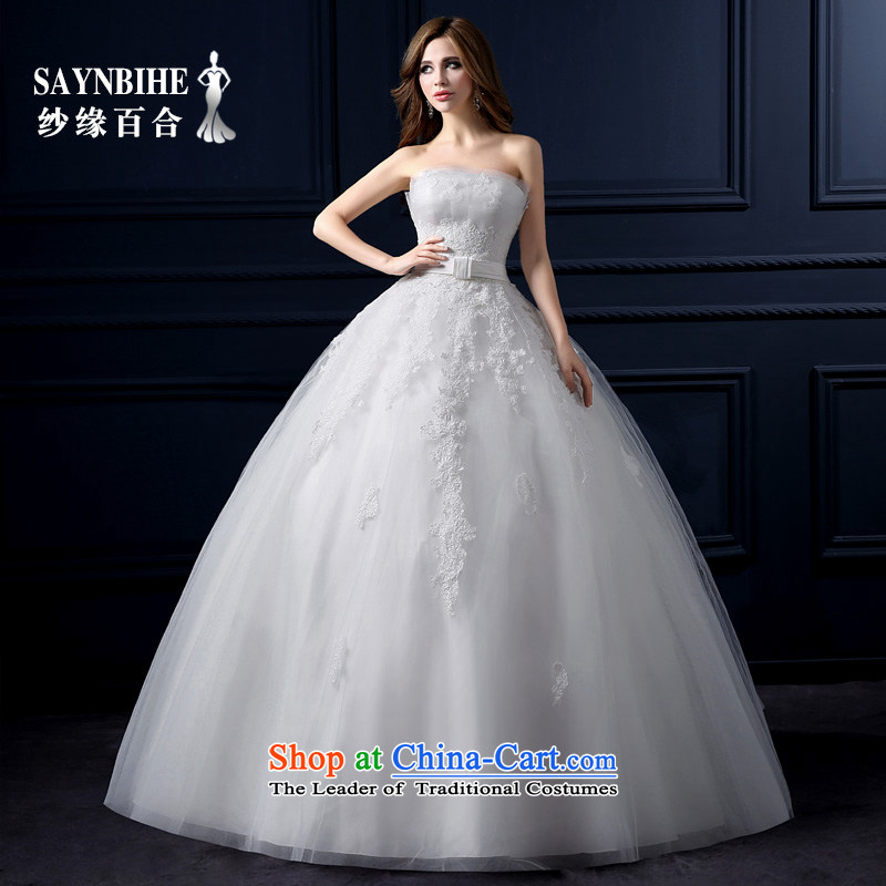 The leading edge of the Formosa lily wedding dresses new 2015 autumn and winter and chest wedding Korean lace straps to align the wedding marriages video thin princess bon bon skirt Fashion Trailing White XXL