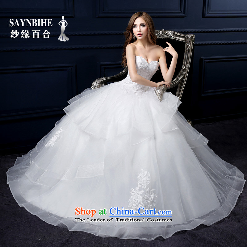 The leading edge of the Formosa lily wedding dresses 2015 autumn and winter new anointed chest bon bon skirt sweet lace straps to align the wedding pregnant women can be customized for larger bride tail wedding White M