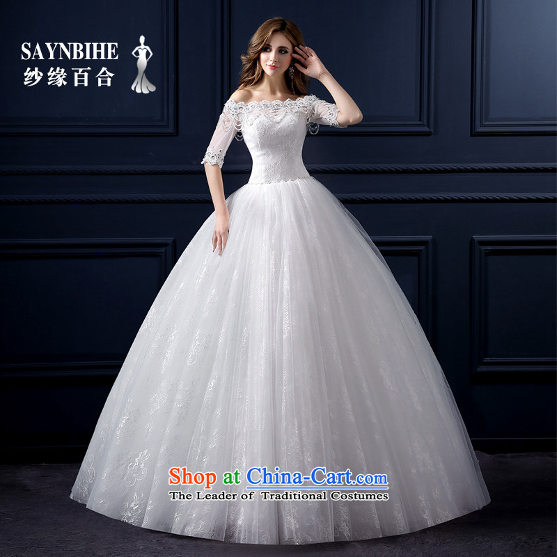 The leading edge of the Formosa lily wedding dresses 2015 new autumn and winter Korean lace a field to align the shoulder wedding marriages bon bon skirt Sau San video thin anointed chest tail wedding white L