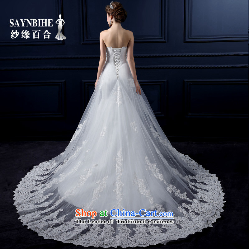The leading edge of the Formosa lily wedding dresses 2015 new autumn and winter and chest crowsfoot wedding Korean lace graphics package and a crowsfoot small thin tail marriages stylish straps wedding white?L
