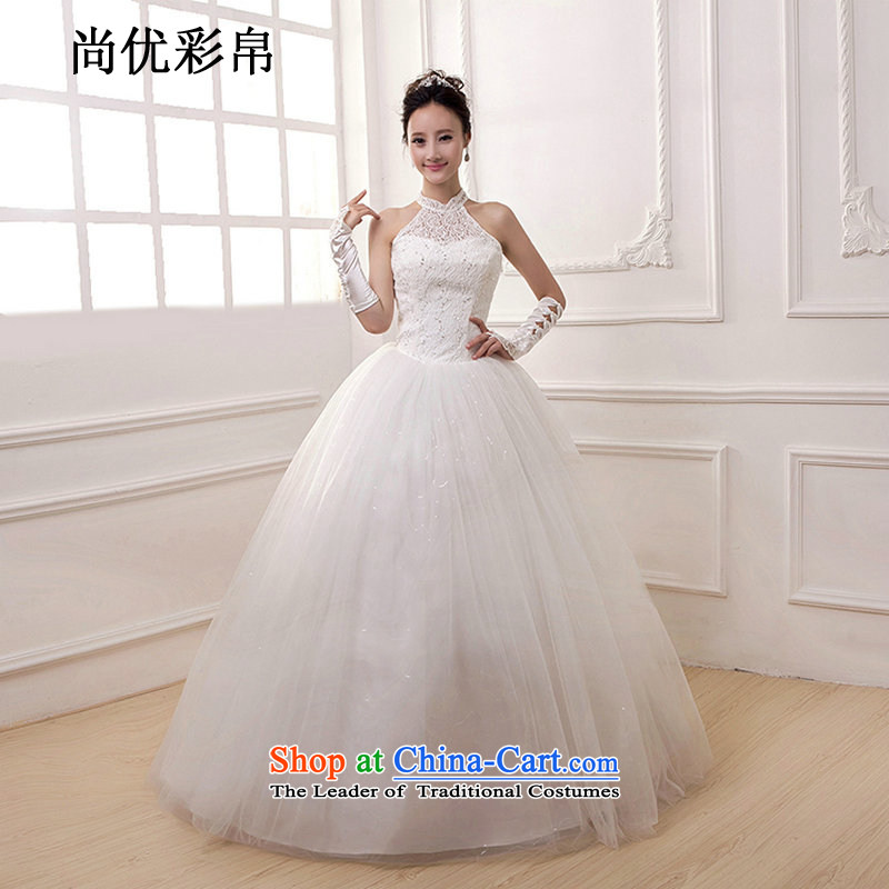 There is also optimized 8D wedding dresses new 2015 White Lace align to bind with hanging Foutune of bride sweet graphics thin also stylish princess dm3101 White?M