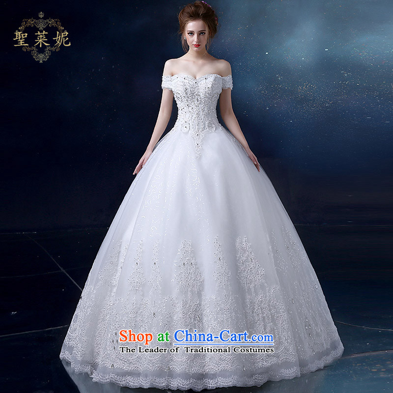 The Holy her wedding dress bride slotted shoulder Wedding 2015 new water drilling lace married to straighten the largest women's princess bon bon skirt dress white?S