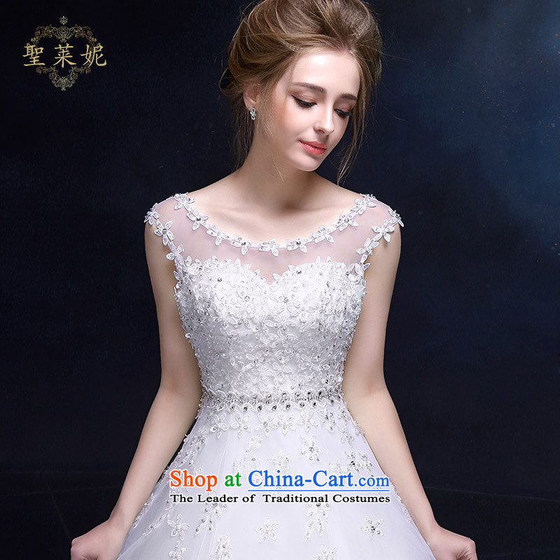 The Holy her wedding dress 2015 new continental style shoulders a skirt lace white marriage Ms. flowers wedding dress white S