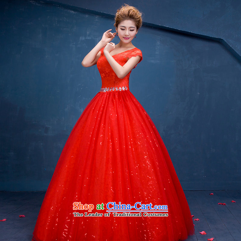 There is also a grand new optimize China wind wedding red lace marriages wedding sweet princess shoulders engraving wedding foutune dm3111 red?S