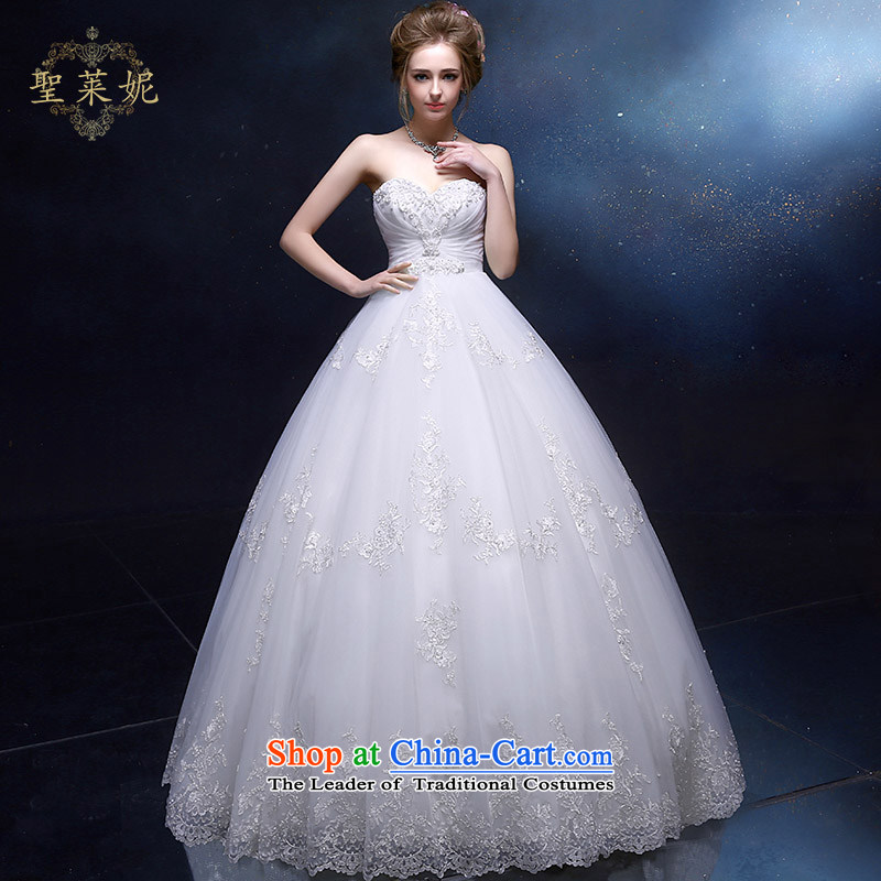 The Holy her wedding dress bride women princess wedding continental palace to his chest and large numbers of marriage and chest dress custom skirt white聽L