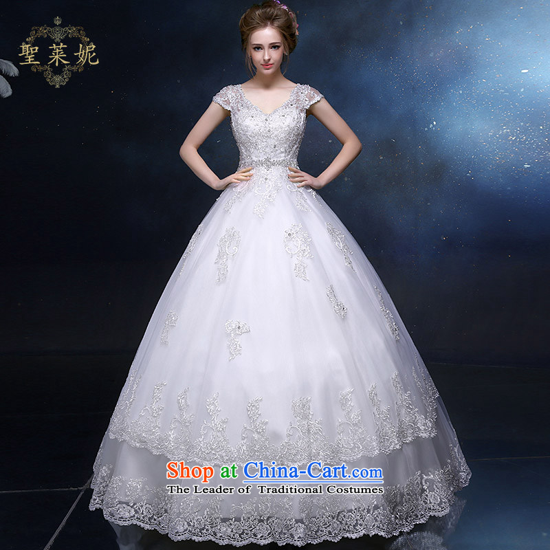 The Holy her wedding dress 2015 new A-skirt elegant shoulders, married to large wedding dresses continental simple graphics thin white?M