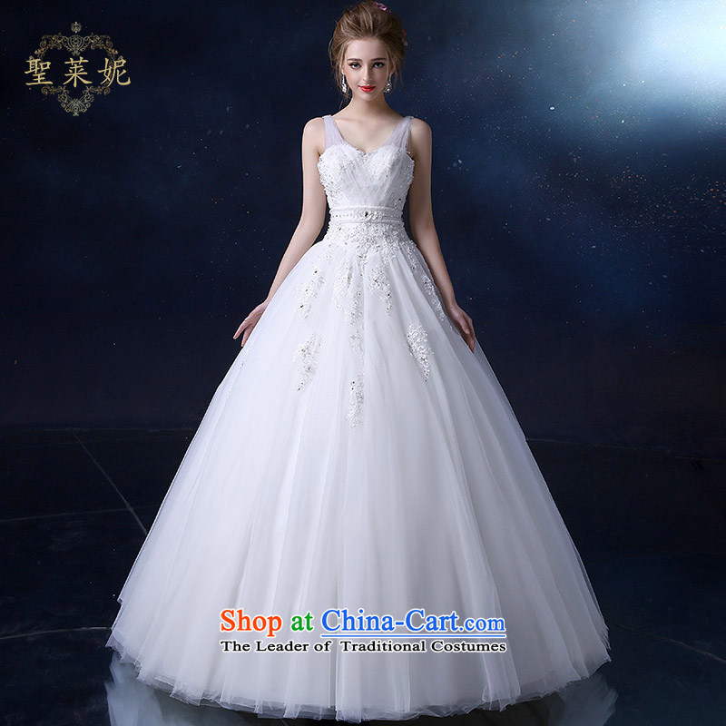 The Holy her wedding dress 2015 new large shoulders Top Loin of Ms. thin Korean graphics marriage wedding dresses white�L