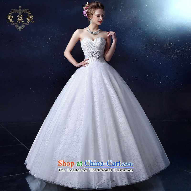 The Holy her wedding dress 2015 bride sleeveless wedding dress, wipe the chest to customize large graphics thin wedding dress Palace White聽M