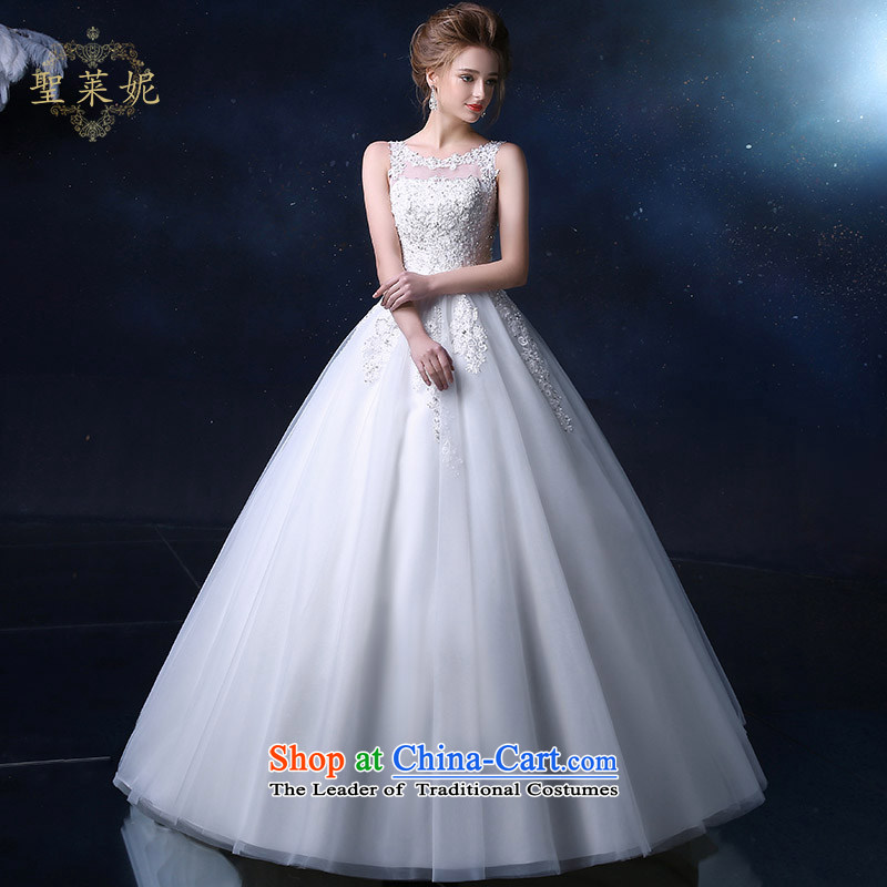 The Holy her wedding dress bride to align the wedding the spring and summer of 2015, the female new larger anointed one chest field shoulder lace marriage shoulders dress white S