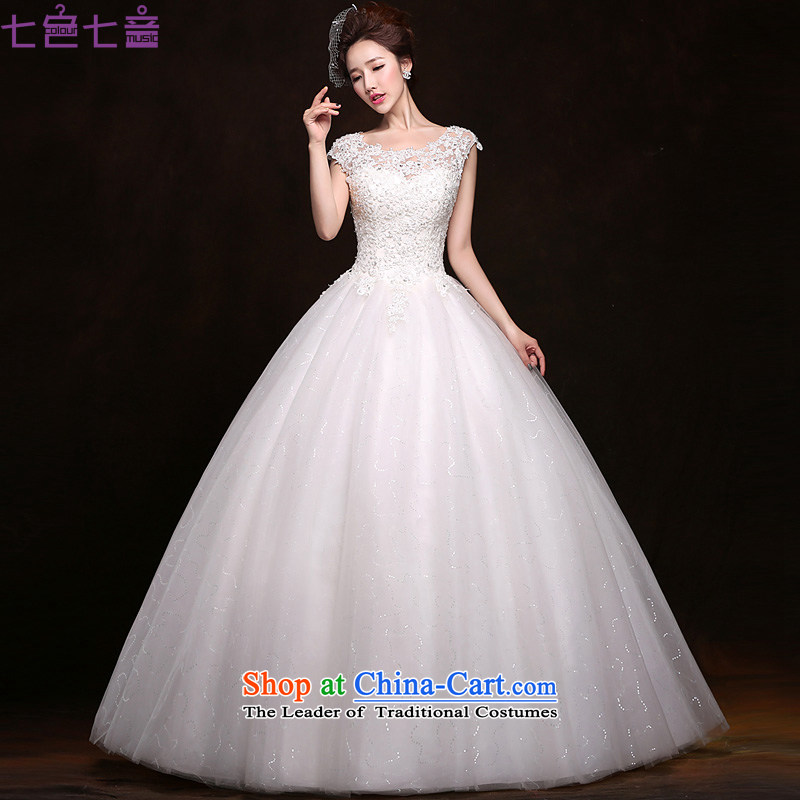7 7 color tone�2015 wedding dresses new Summer Wedding bride Korea pregnant women Layout Align to larger fields shoulder wedding�H057�White�XXL