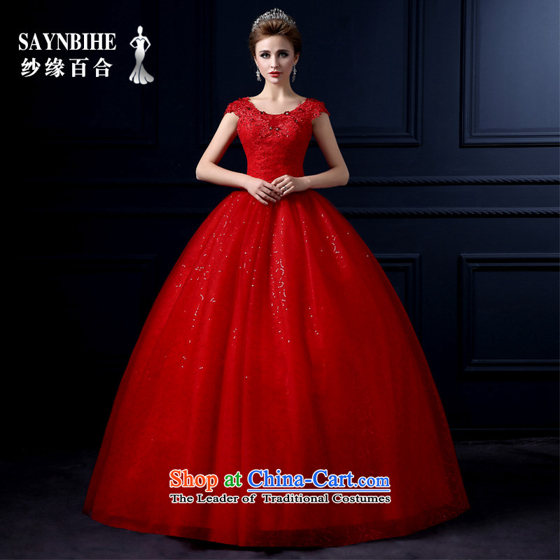 The leading edge of the Formosa lily wedding dresses 2015 new autumn and winter sweet lace to align the wedding video thin red bride Sau San marriage bon bon skirt large tie tail wedding red?S