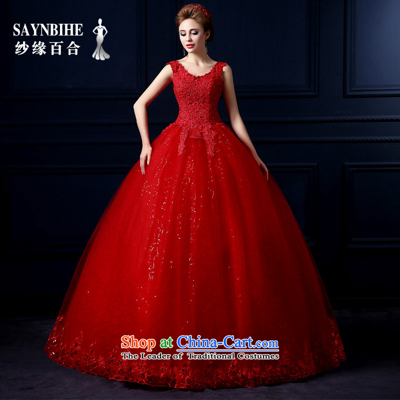 The leading edge of the Formosa lily wedding dresses 2015 new autumn and winter field shoulder wedding Korean lace shoulders wedding red marriages bon bon skirt large graphics skinny tail red XXL