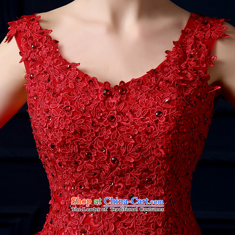The leading edge of the Formosa lily wedding dresses 2015 new autumn and winter field shoulder wedding Korean lace shoulders wedding red marriages bon bon skirt large graphics skinny tail red XXL, yarn edge Lily , , , shopping on the Internet