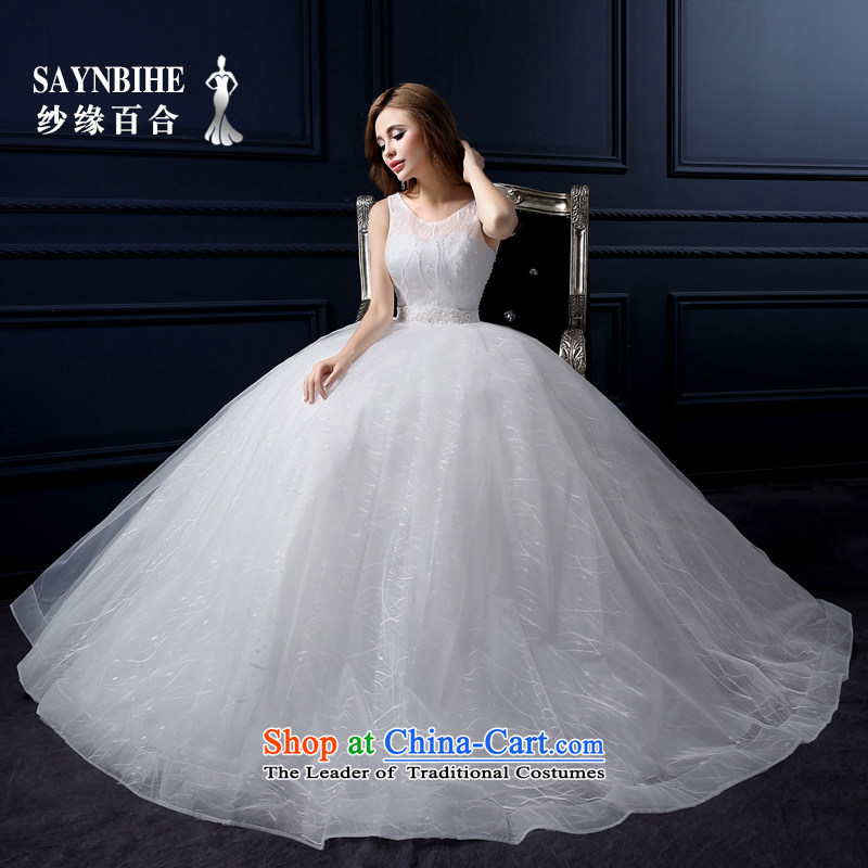 The leading edge of the Formosa lily new 2015 wedding dresses lace video word thin shoulders wedding tail Korean shoulders to align the wedding video thin slotted shoulder larger bride bon bon skirt White?XL