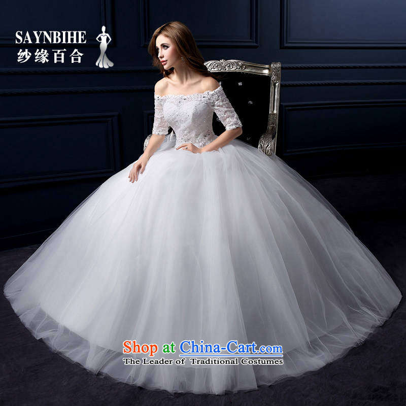 The leading edge of the Formosa lily wedding dresses 2015 new autumn and winter field shoulder lace wedding code graphics thin marriages of Korean sweet words to his chest bon bon skirt wedding White XL