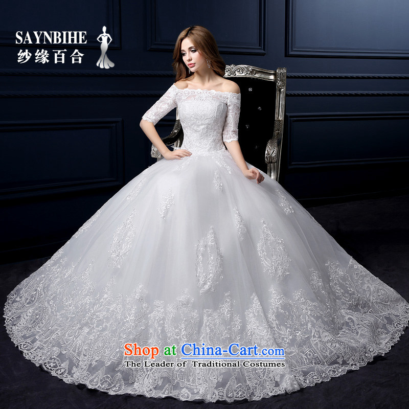 The leading edge of the Formosa lily wedding dresses new Word 2015 winter your shoulders to wedding Korean lace anointed chest wedding marriages bon bon skirt sweet straps for larger trailing white M