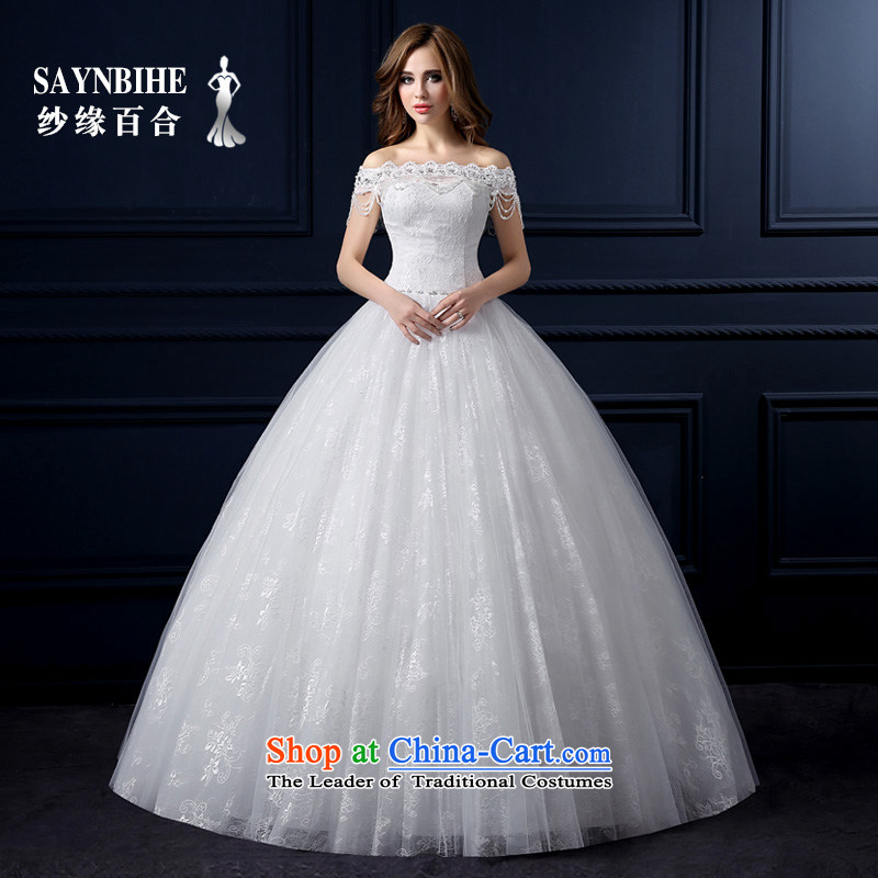 The leading edge of the Formosa lily Wedding 2015 new word shoulder wedding Korean lace align to wedding bride sweet marriage large yarn Sau San video thin wiping the chest tail bon bon skirt White XL