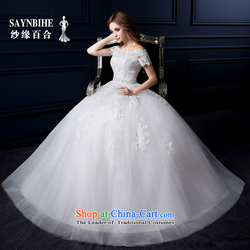 The leading edge of the Formosa lily wedding dresses 2015 new autumn and winter Korean lace shoulders the word wedding shoulder Sau San wedding code with Mary Magdalene chest to wedding bride wedding White XL