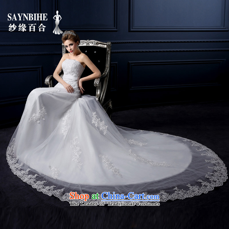 The leading edge of the Formosa lily wedding dresses new 2015 autumn and winter Korean lace crowsfoot wedding packages and small drag Sau San Mei Chest anointed graphics thin crowsfoot marriages yarn bon bon skirt white?S