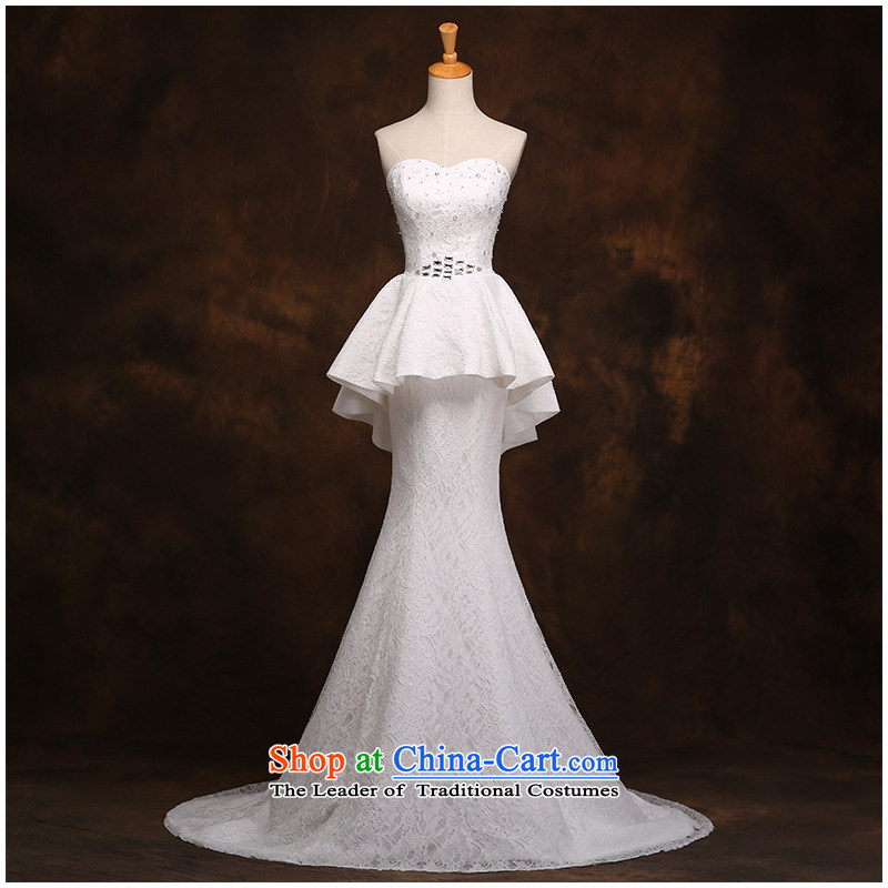 The beautiful yarn and chest lace small trailing crowsfoot wedding fashion straps with bore Sau San minimalist wedding dresses?2015 new products factory outlet white?L