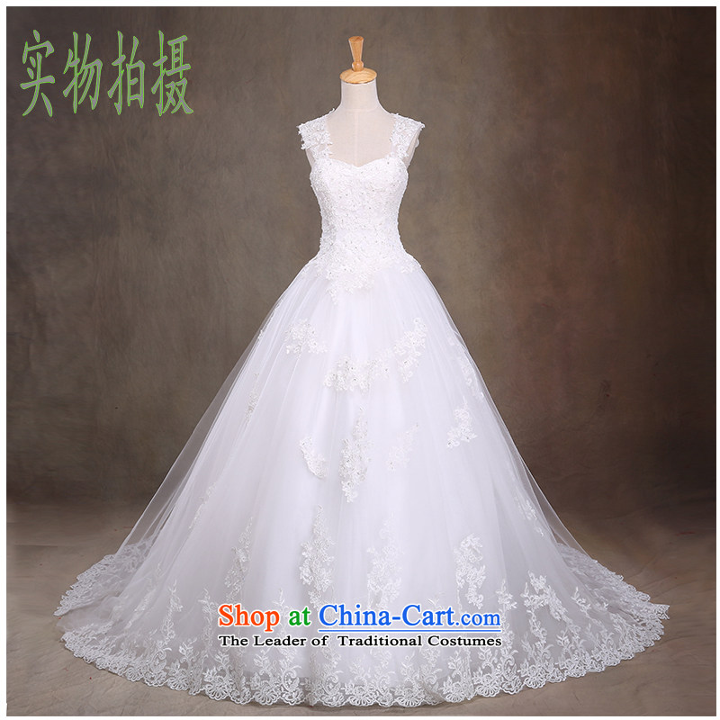 The beautiful new bride yarn 2015 anointed chest tail wedding stylish and elegant wedding video thin straps Sau San Wedding Hand-stitched Removable shoulder strap white聽M