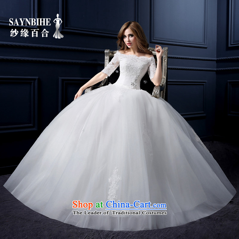 The leading edge of the Formosa lily wedding dresses new 2015 autumn and winter Korean word shoulder wedding video thin lace align to wedding marriages large wedding pregnant women custom bon bon white S