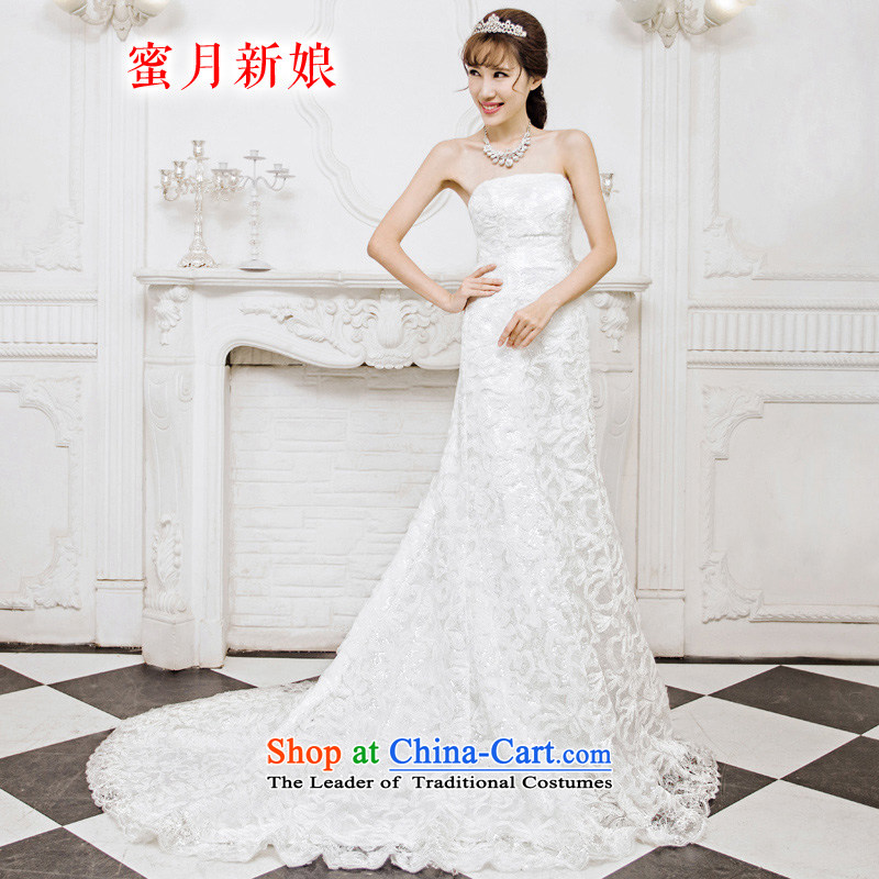 Honeymoon bride 2015 new products wedding dresses Korean wedding dreams of Sau San crowsfoot lace tail wedding White?XL