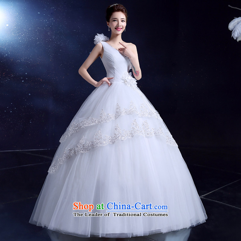 2015 Summer wedding dresses bride wedding dress to align the minimalist japanese and rok larger shoulder hunsha FLOWER WHITE?M