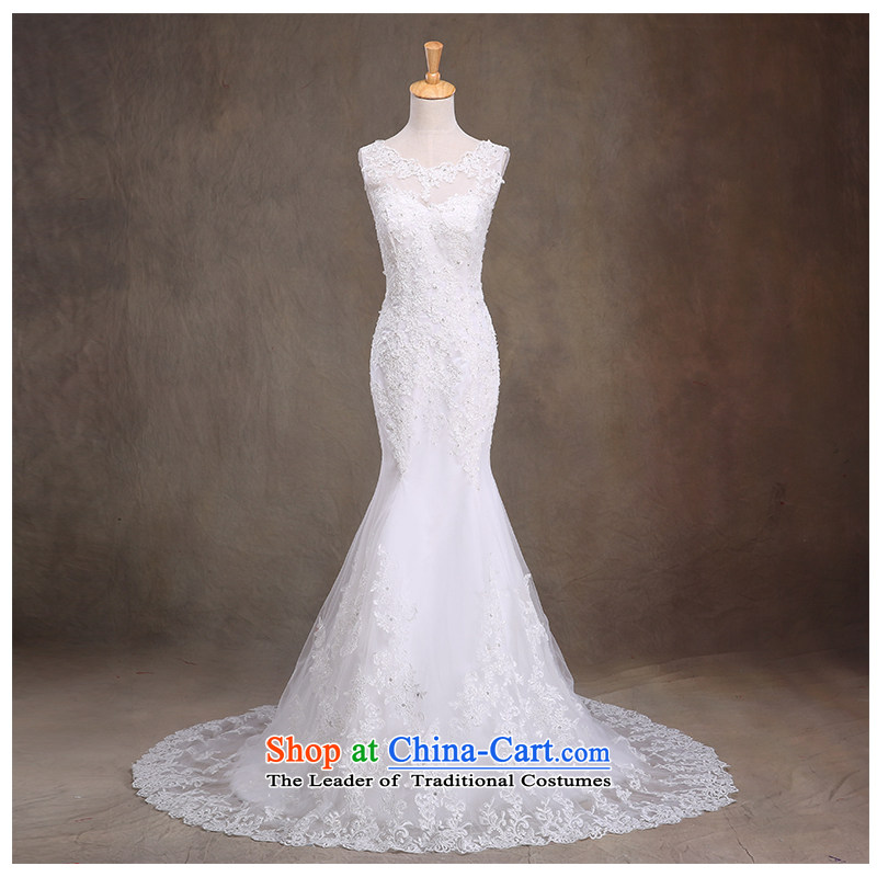 The beauty of the new 2015 foutune crowsfoot lace strap small trailing wedding minimalist marriages Sau San video thin wedding dresses strap back round-neck collar White M