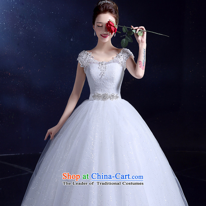 2015 Korean bridal dresses wedding dresses summer marriage bows shoulders to align the large number of field shoulder lace Diamond White?L