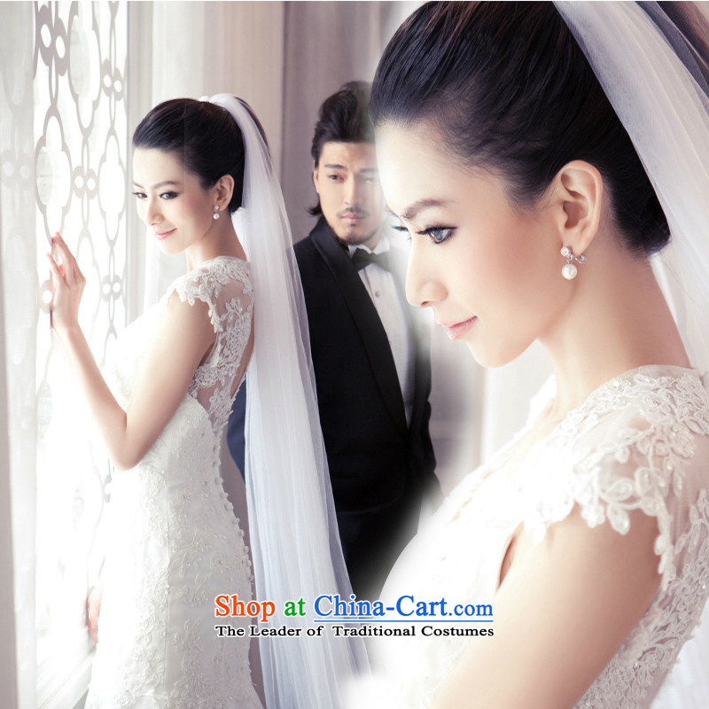 The first white into about Korean lace marriages large graphics thin female crowsfoot long tail wedding dresses 2015 New White?S