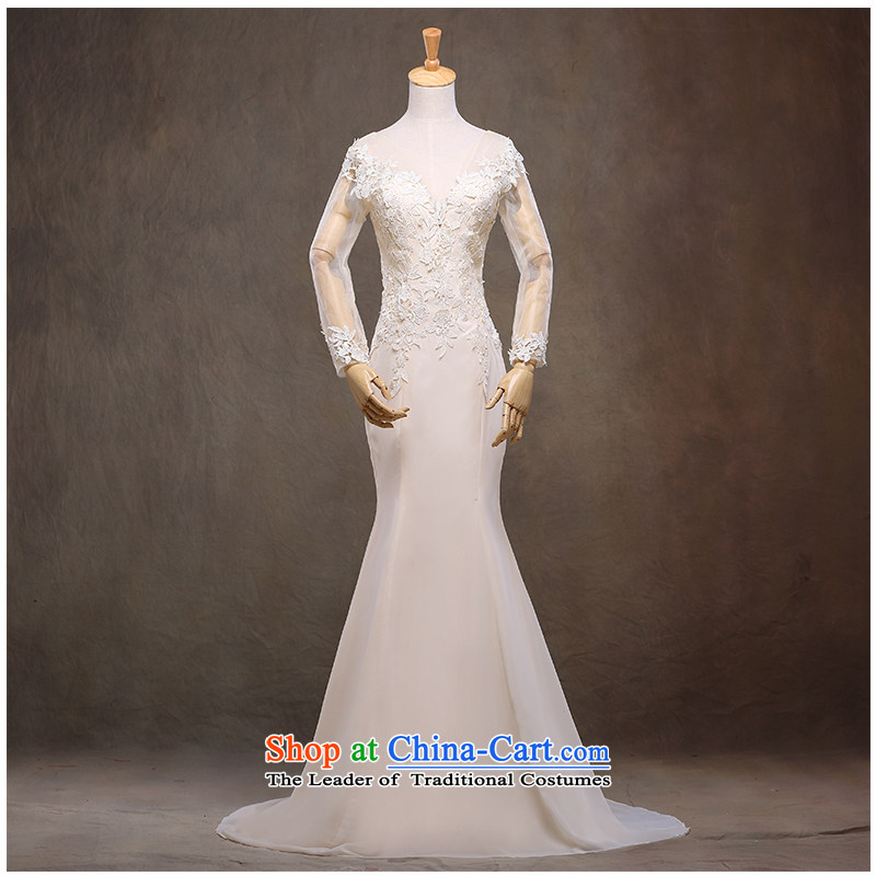 The beauty of the new 2015 Sau San package and small trailing wedding foutune crowsfoot video thin straps lace shoulders strap round-neck collar back marriages wedding White M