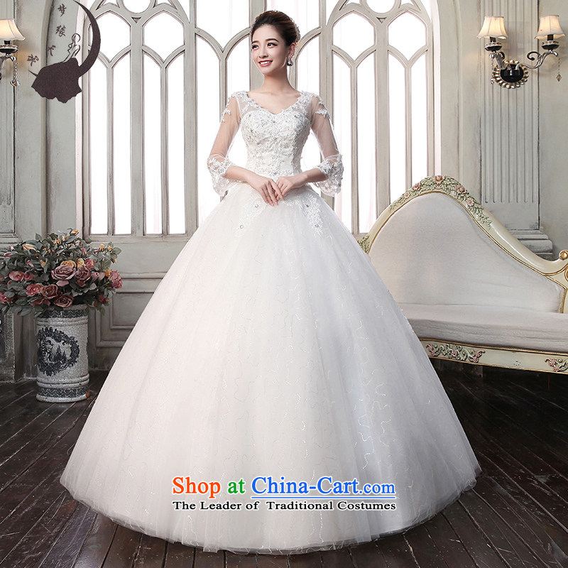The leading edge of the korea days Wedding 2015 autumn and winter new alignment to lace the word in the Cuff shoulder wedding dress 1610?S 1.9 feet waistline White