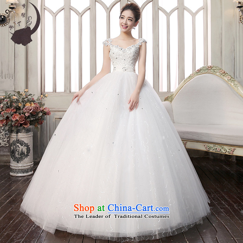 The leading edge of the field days shoulder Wedding 2015 autumn and winter new Korean brides to align the wedding wedding wedding dress 1702 White M 2.0 ft waist