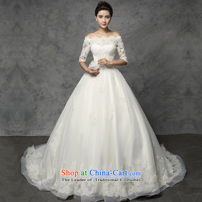 El drunken Yi Mei 2015 new stylish Summer Wedding a field in the Cuff tail shoulder wedding lace video thin large wedding lace drill bride fifth wedding White?M cuffs