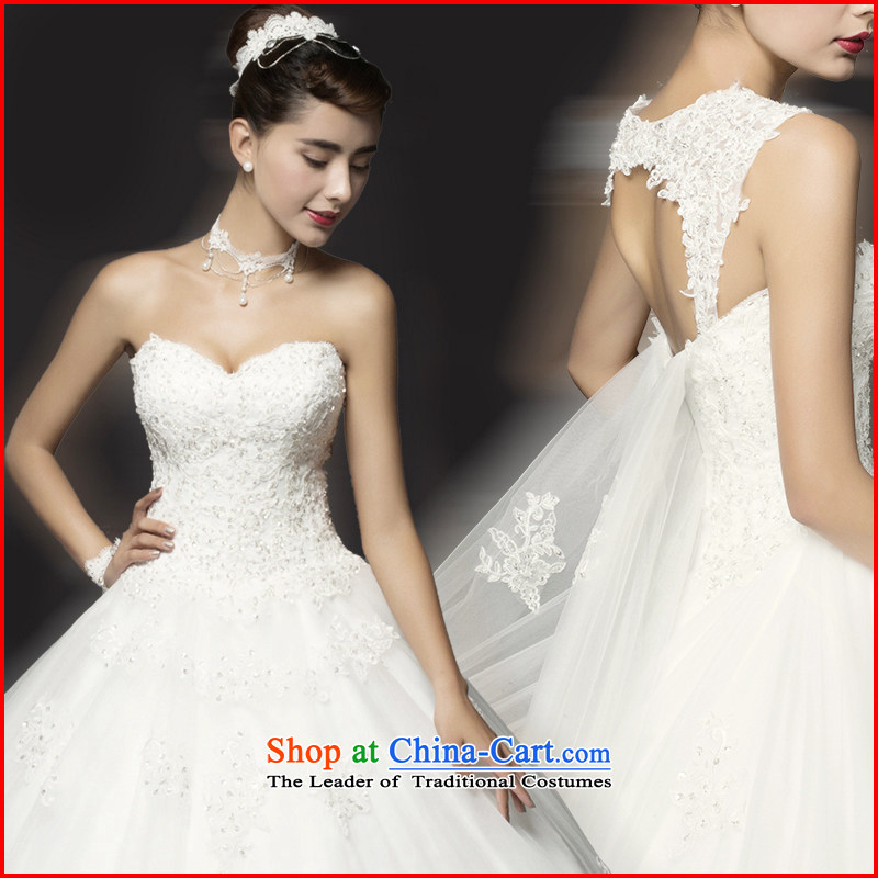 El drunken Yi Mei 2015 new Korean style wedding dresses tail of diamond ornaments shoulder larger fat mm marriage video thin wedding summer bride wedding Removable shoulder strap White XL