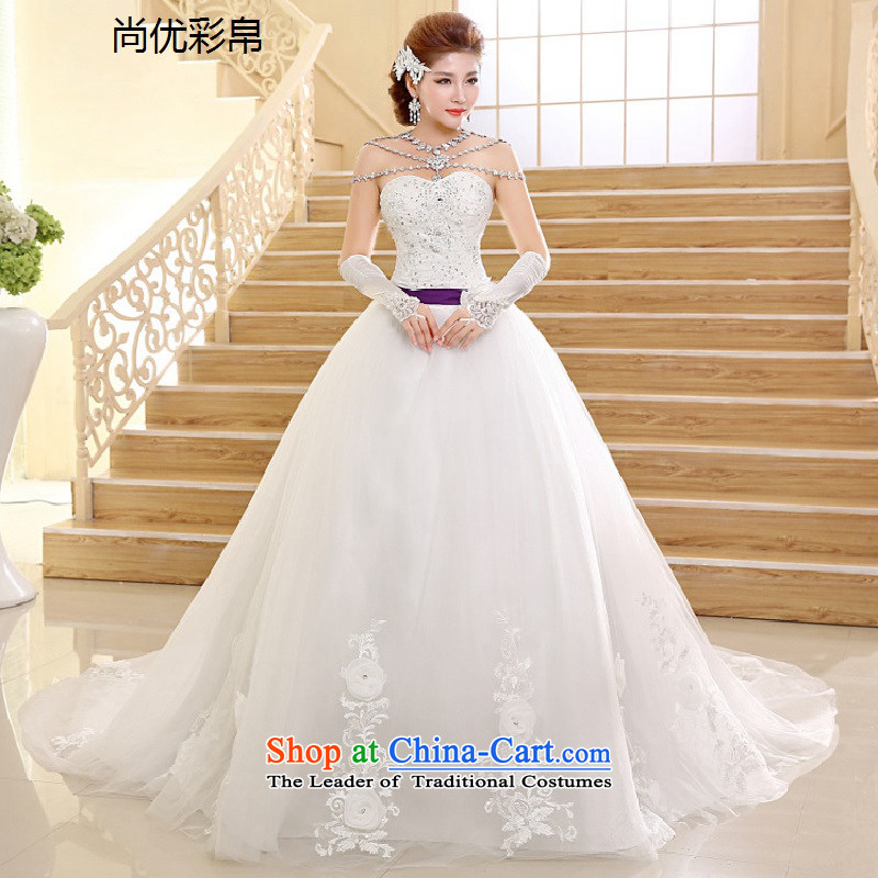 There is also optimized 8D wedding dresses 2015 new bride sweet Princess Diamond Deluxe tail and chest straps wedding xs1011 m White�M
