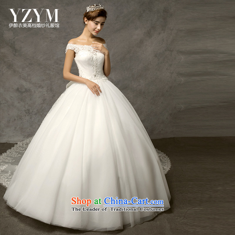 El drunken American wedding dresses yi 2015 new stylish married a field shoulder lace large tail can be removed from the wedding code thick mm video thin bride wedding sexy engraving align to + Removable Tail?XL