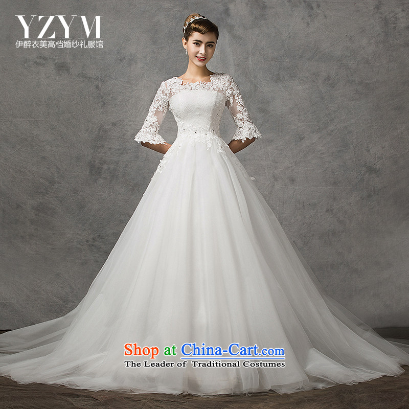 El drunken Yi Mei bride wedding dresses new 2015 Spring/Summer in cuff wedding tail retro lace wedding video thin stars of the same wedding bride wedding dress White M