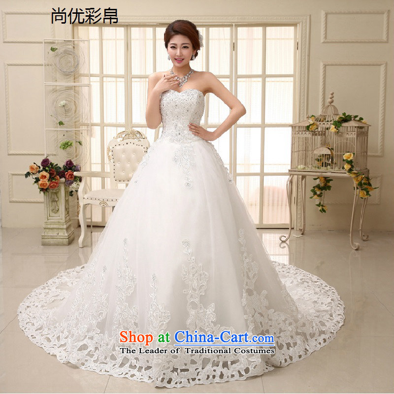 There is also a grand new optimize wedding dresses elegant bare shoulders, multi-level and chest sweet arts princess tail wedding xs1008 m White?M