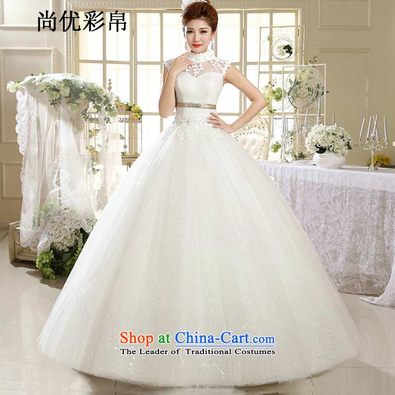 There is also optimized 8D wedding dresses new Summer Wedding bride Han Layout Align to hang the history of nostalgia for the Korean version of Princess white wedding xs1018 m White?M
