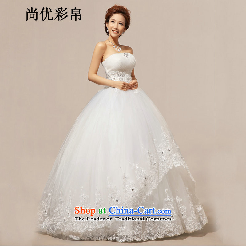There is also optimized 8D wedding dresses new spring Korean brides White Diamond wiping the chest to align the summer of Sau San xs1019 m White聽M