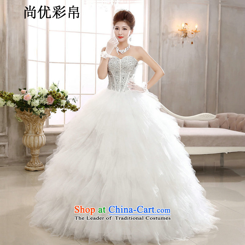 There is also optimized 8D wedding dresses spring new Korean brides anointed chest diamond Swan Tysan graphics to align the thin Sau San Princess wedding xs1020 m White�M