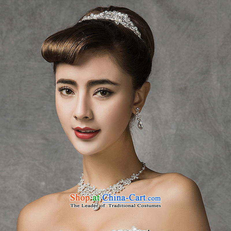 El drunken Yi Mei bride Head Ornaments Crown necklace earrings three piece Korean Crystal Jewelry marry hair accessories jewelry Kit 2015 Summer new bride Head Ornaments Crown earrings Necklace